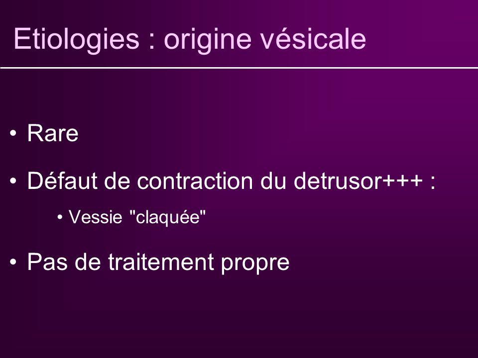 Etiologies : origine vésicale