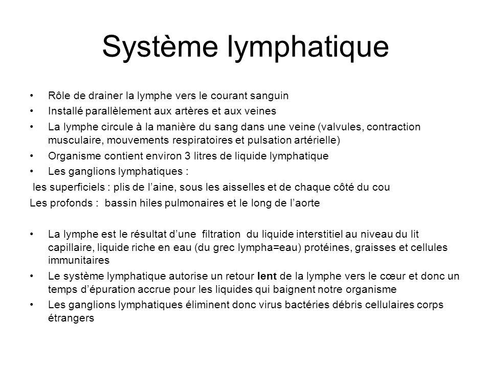 Système lymphatique Rôle de drainer la lymphe vers le courant sanguin