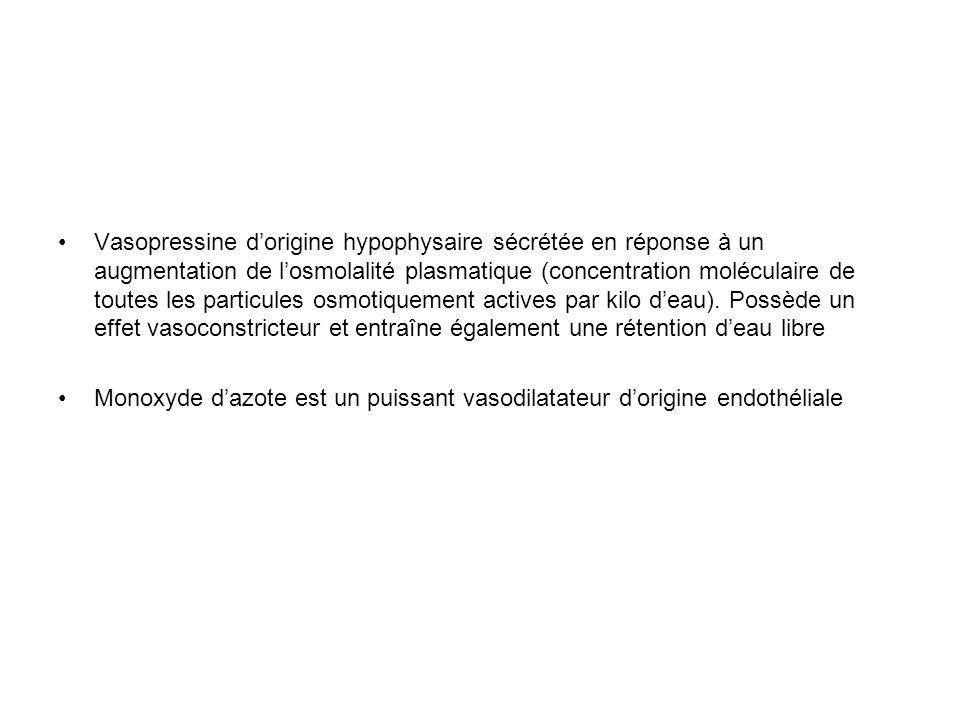Vasopressine d'origine hypophysaire sécrétée en réponse à un augmentation de l'osmolalité plasmatique (concentration moléculaire de toutes les particules osmotiquement actives par kilo d'eau). Possède un effet vasoconstricteur et entraîne également une rétention d'eau libre