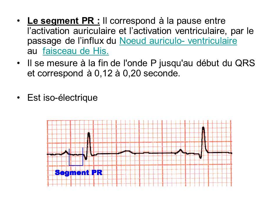 Le segment PR : Il correspond à la pause entre l'activation auriculaire et l'activation ventriculaire, par le passage de l'influx du Noeud auriculo- ventriculaire au faisceau de His.