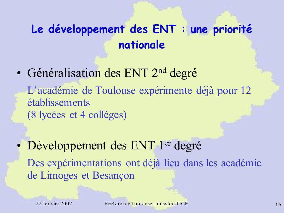 Le développement des ENT : une priorité nationale