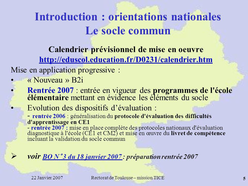 Introduction : orientations nationales Le socle commun