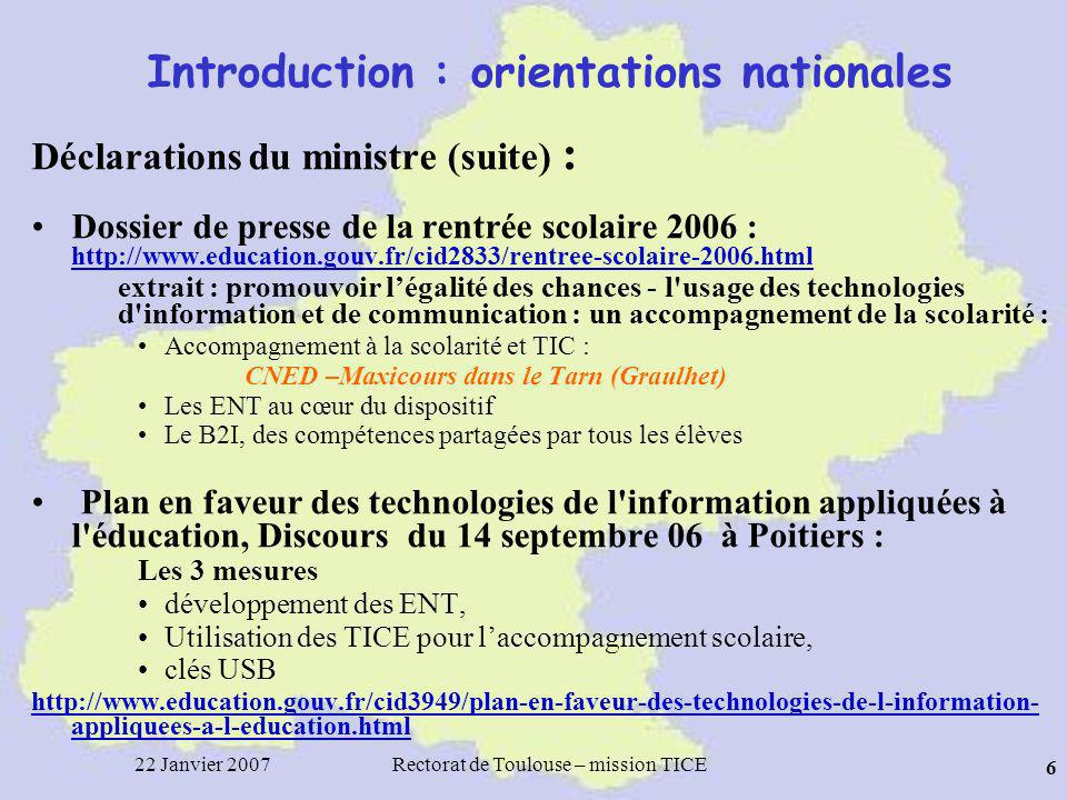 Introduction : orientations nationales
