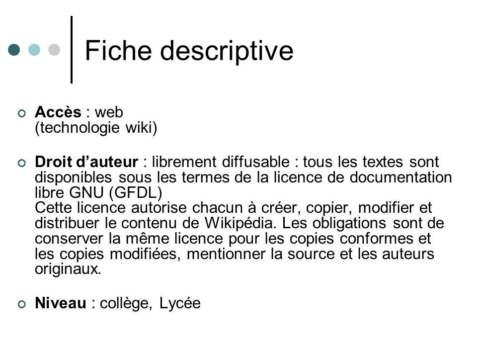 Fiche descriptive Accès : web (technologie wiki)