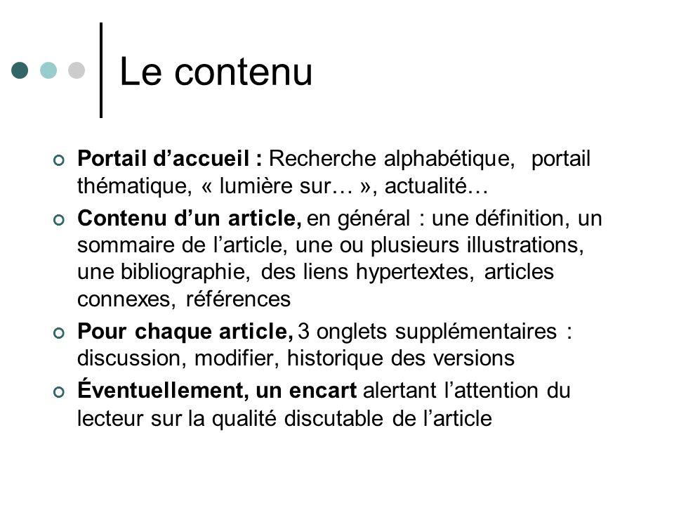 Le contenu Portail d'accueil : Recherche alphabétique, portail thématique, « lumière sur… », actualité…