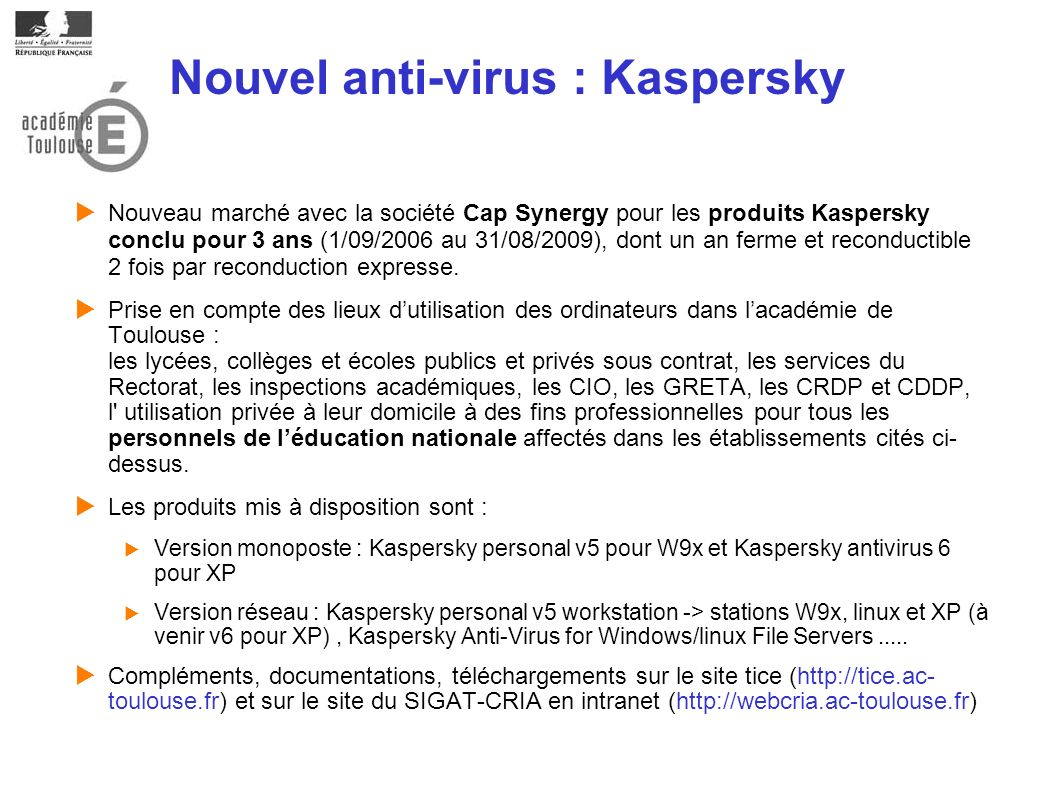 Nouvel anti-virus : Kaspersky