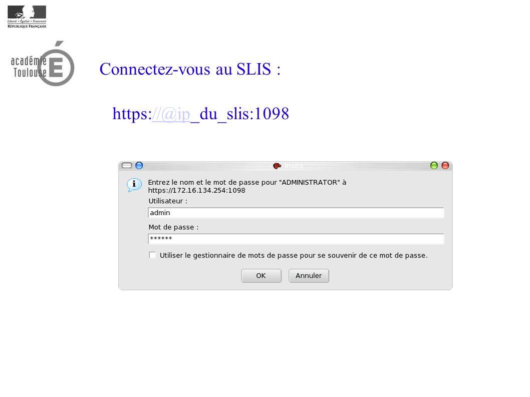 Connectez-vous au SLIS :