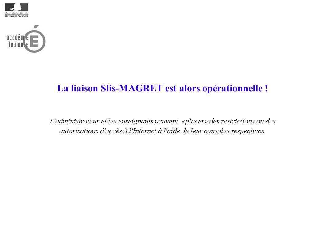 La liaison Slis-MAGRET est alors opérationnelle !