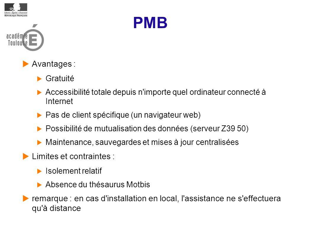 PMB Avantages : Limites et contraintes :