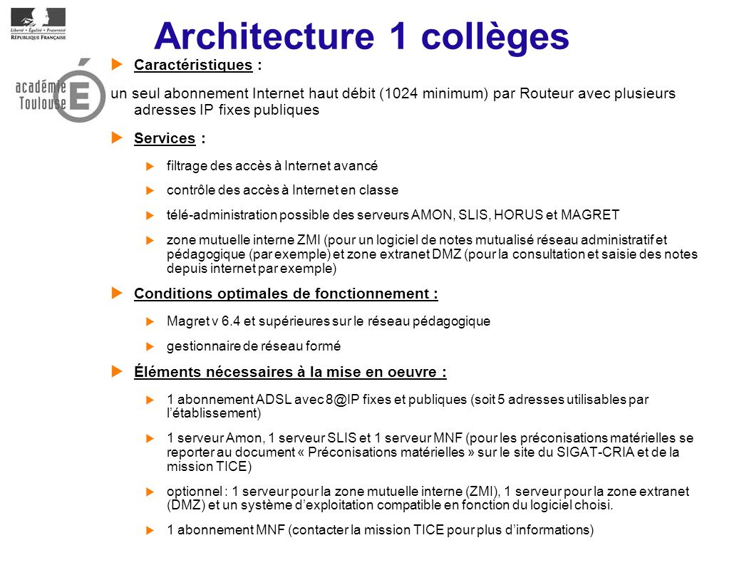 Architecture 1 collèges