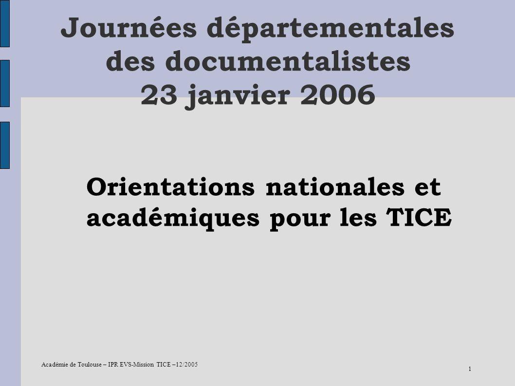 Journées départementales des documentalistes 23 janvier 2006