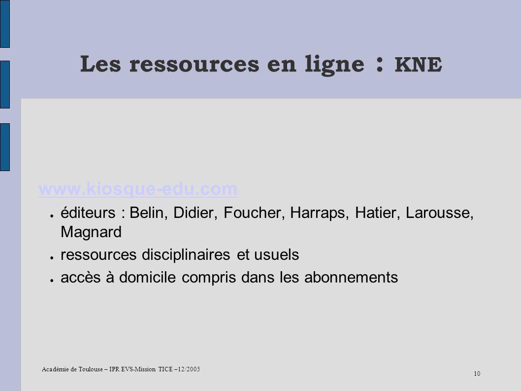 Les ressources en ligne : KNE