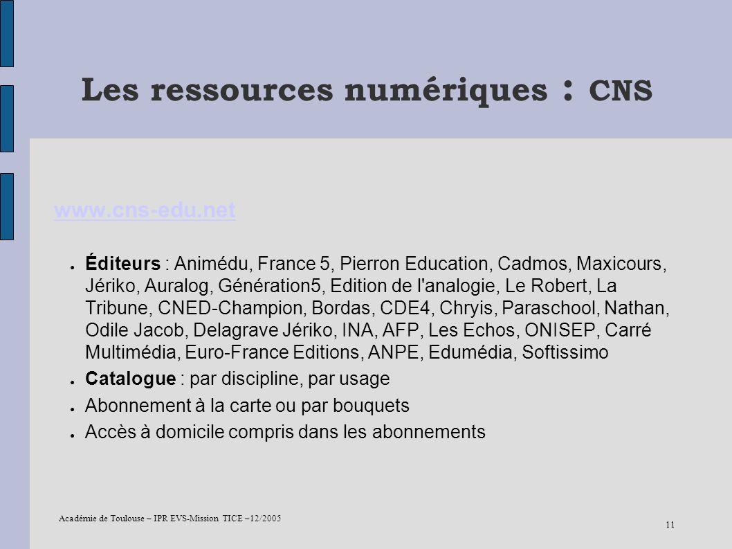 Les ressources numériques : CNS