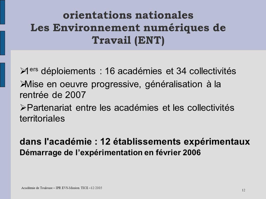 orientations nationales Les Environnement numériques de Travail (ENT)