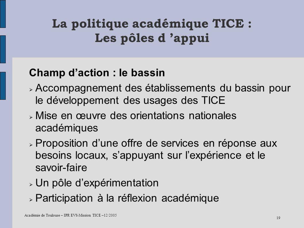 La politique académique TICE : Les pôles d 'appui