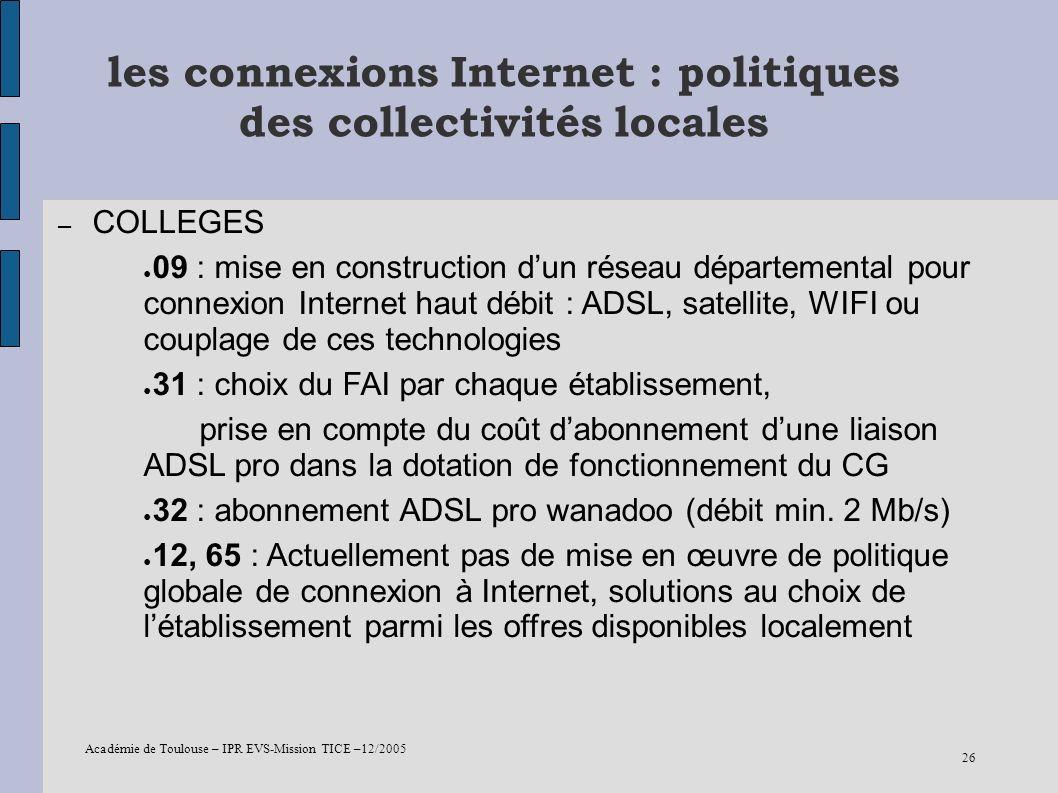 les connexions Internet : politiques des collectivités locales