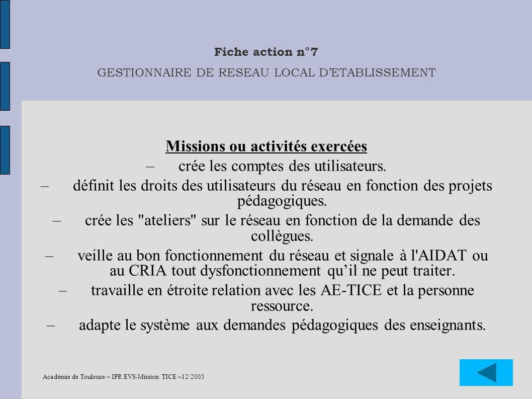 Fiche action n°7 GESTIONNAIRE DE RESEAU LOCAL D'ETABLISSEMENT