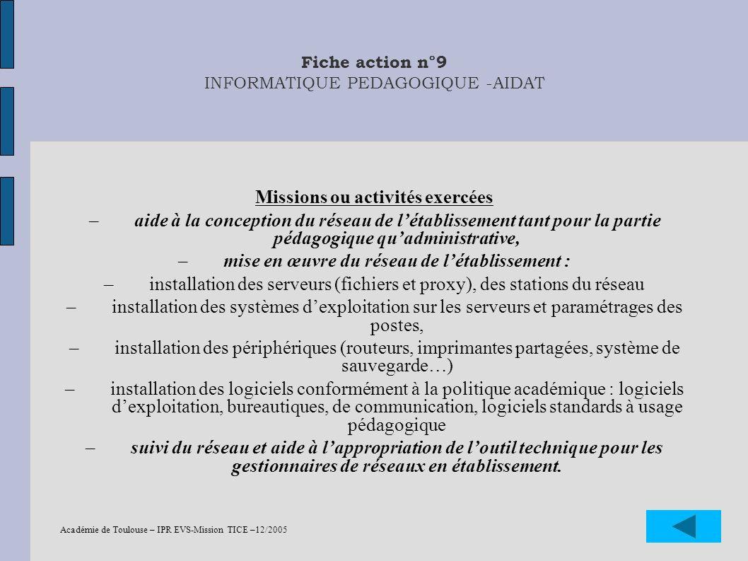 Fiche action n°9 INFORMATIQUE PEDAGOGIQUE -AIDAT