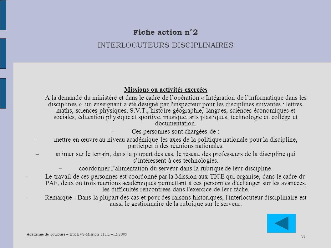 Fiche action n°2 INTERLOCUTEURS DISCIPLINAIRES