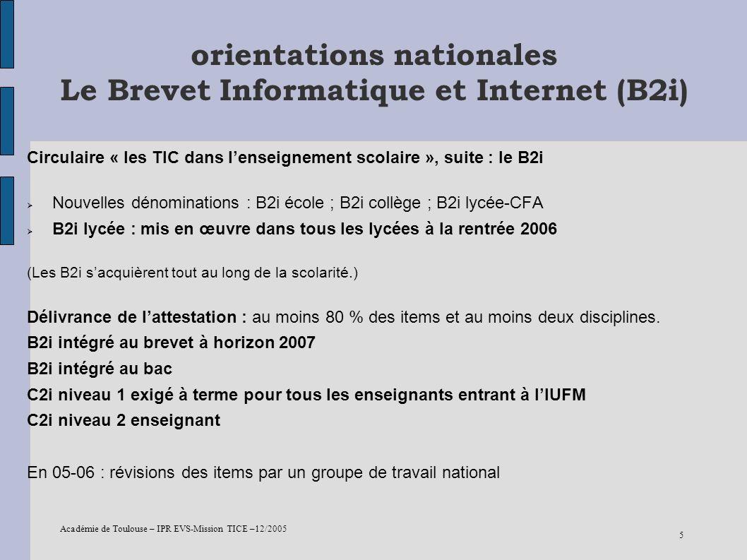 orientations nationales Le Brevet Informatique et Internet (B2i)