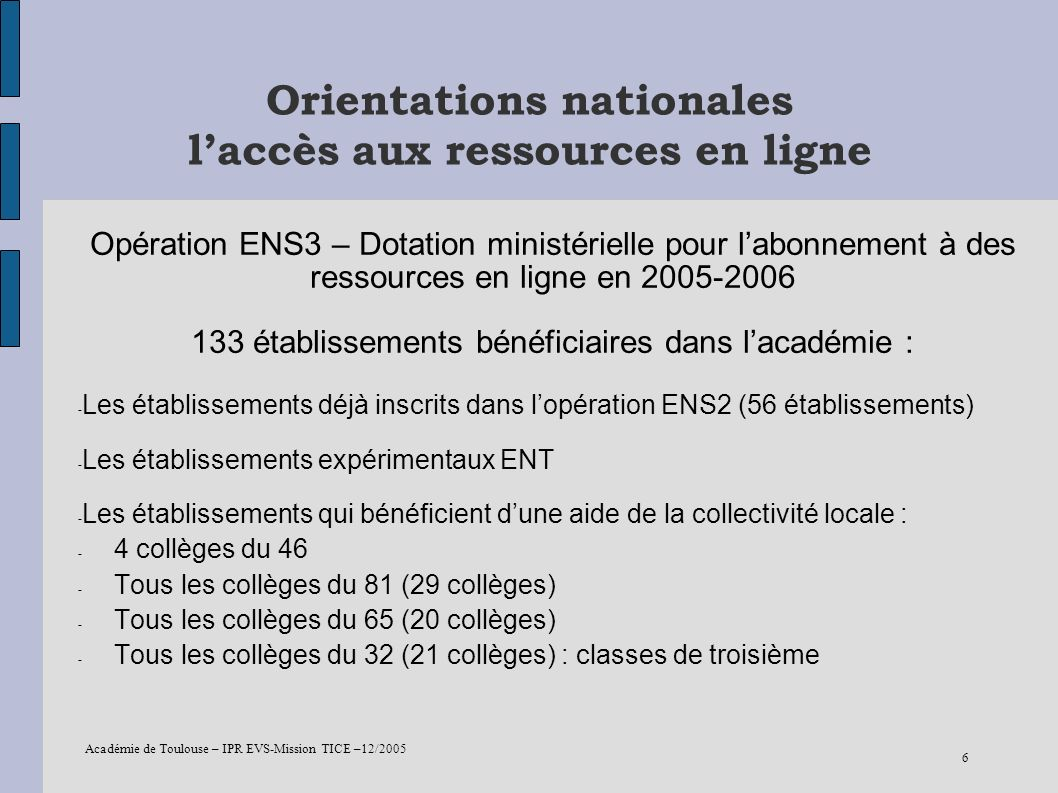 Orientations nationales l'accès aux ressources en ligne