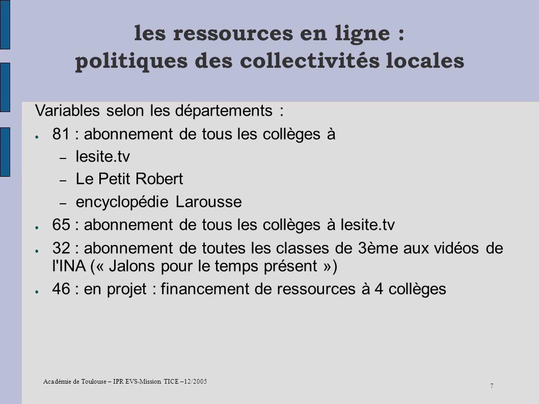 les ressources en ligne : politiques des collectivités locales