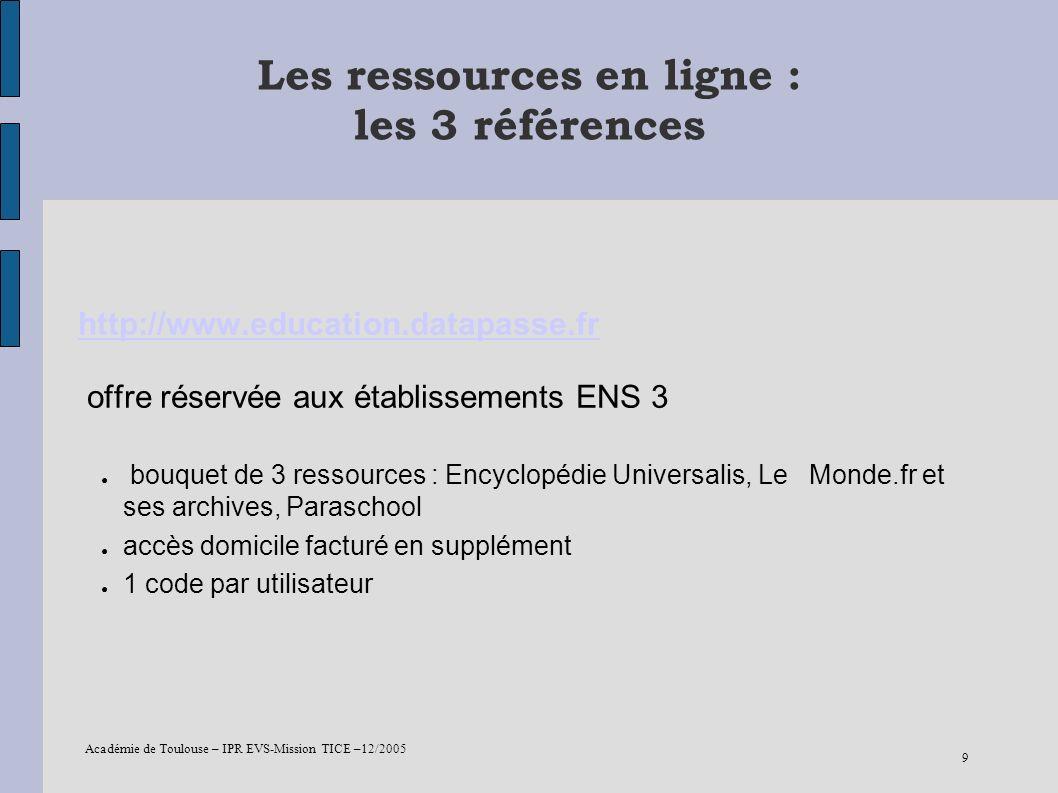 Les ressources en ligne : les 3 références