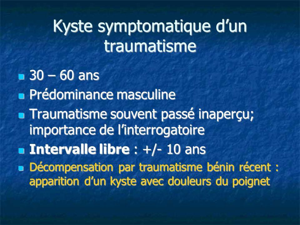 Kyste symptomatique d'un traumatisme