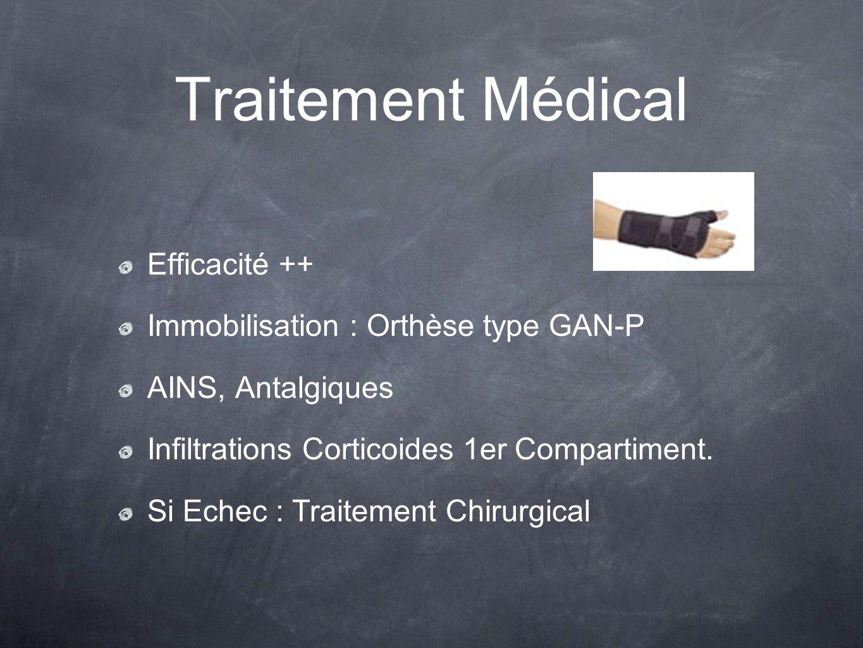 Traitement Médical Efficacité ++ Immobilisation : Orthèse type GAN-P