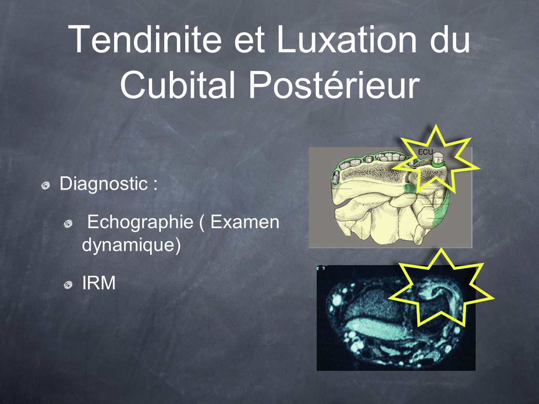 Tendinite et Luxation du Cubital Postérieur