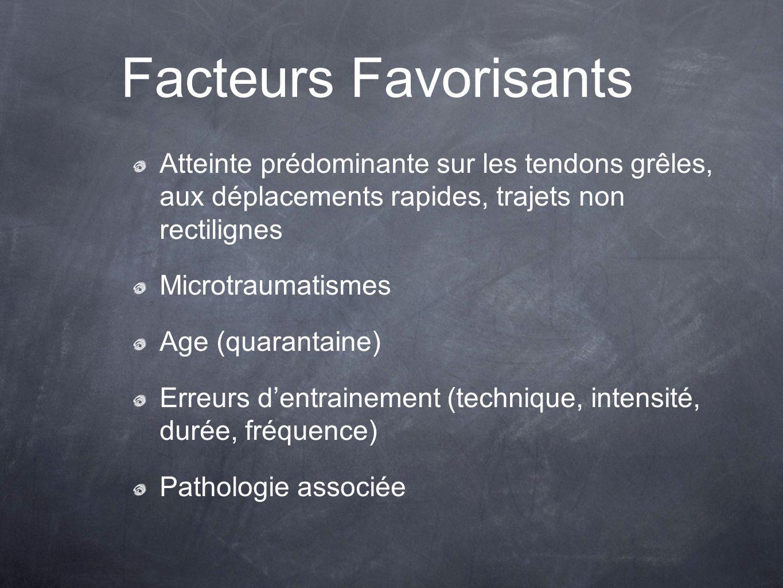 Facteurs Favorisants Atteinte prédominante sur les tendons grêles, aux déplacements rapides, trajets non rectilignes.
