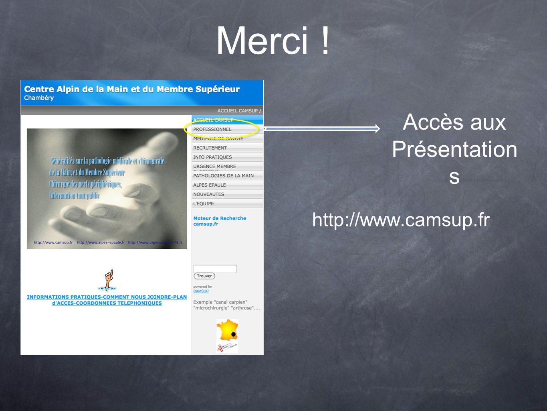 Merci ! Accès aux Présentations http://www.camsup.fr