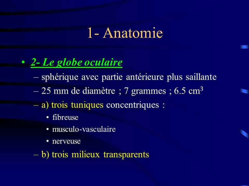 1- Anatomie 2- Le globe oculaire