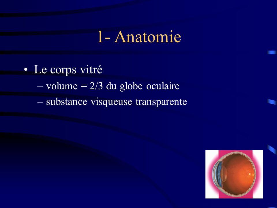 1- Anatomie Le corps vitré volume = 2/3 du globe oculaire