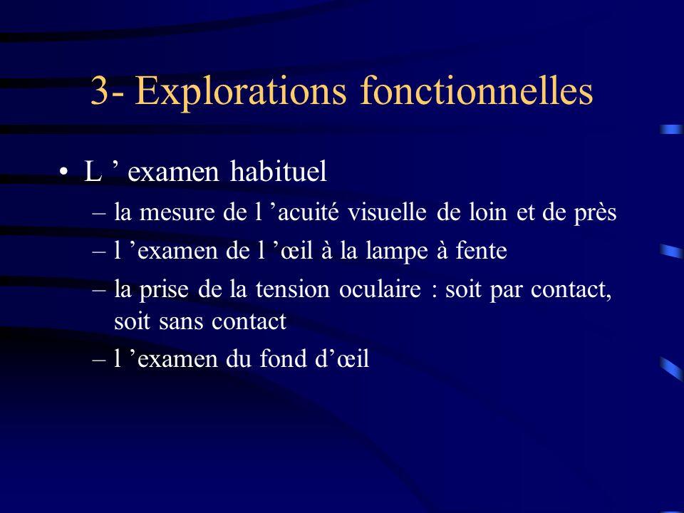 3- Explorations fonctionnelles