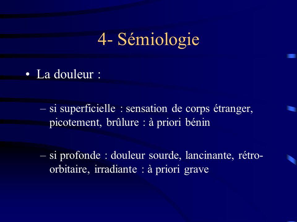 4- Sémiologie La douleur :