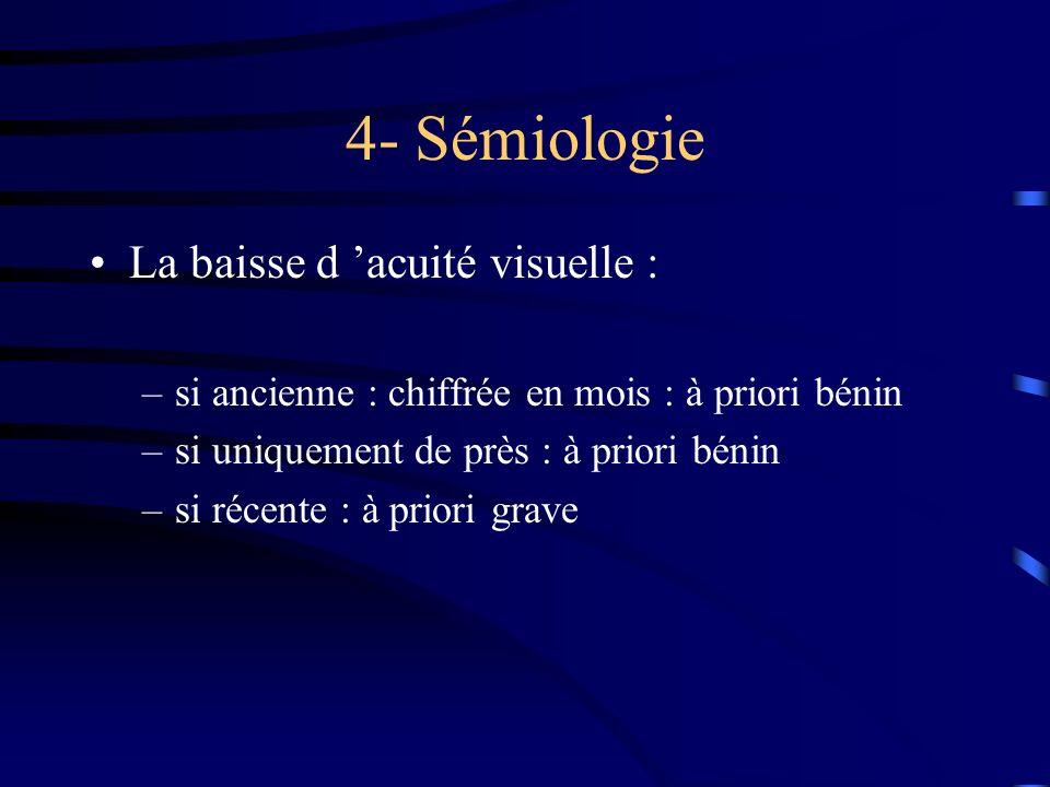 4- Sémiologie La baisse d 'acuité visuelle :