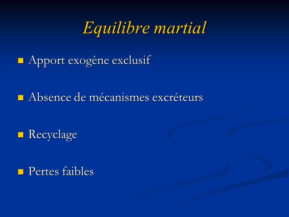 Equilibre martial Apport exogène exclusif