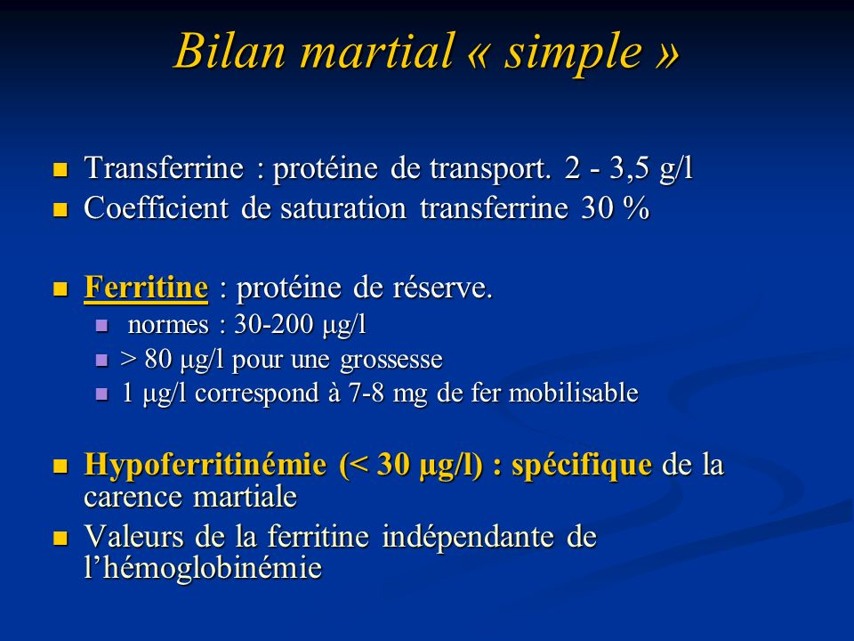 Bilan martial « simple »
