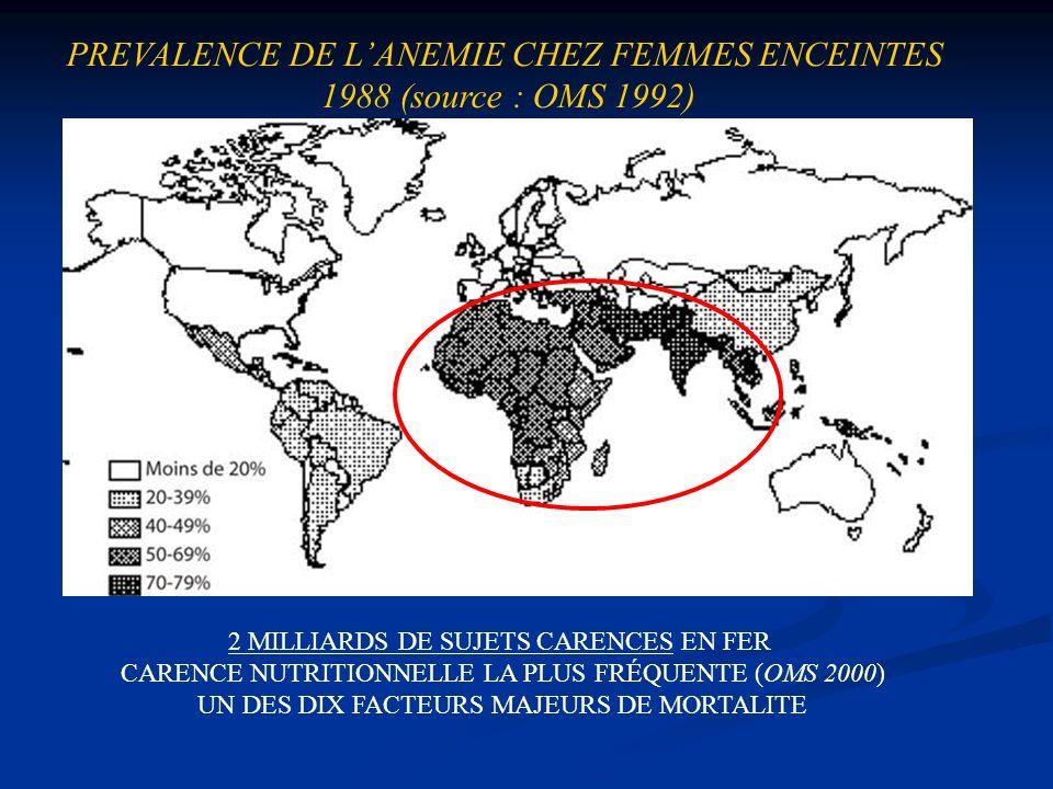 PREVALENCE DE L'ANEMIE CHEZ FEMMES ENCEINTES 1988 (source : OMS 1992)