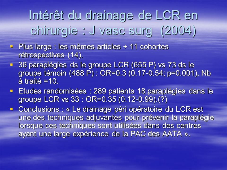 Intérêt du drainage de LCR en chirurgie : J vasc surg (2004)
