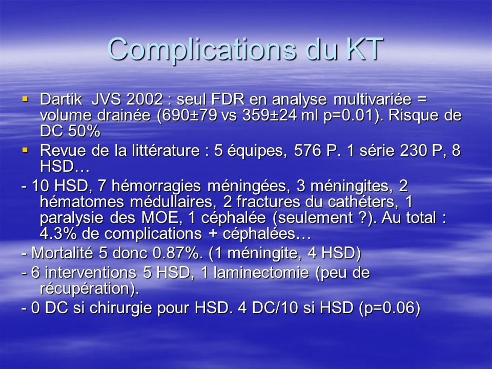 Complications du KT Dartik JVS 2002 : seul FDR en analyse multivariée = volume drainée (690±79 vs 359±24 ml p=0.01). Risque de DC 50%