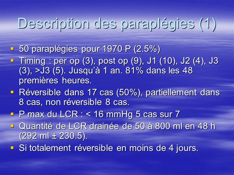 Description des paraplégies (1)