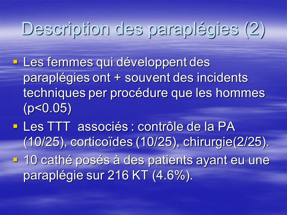 Description des paraplégies (2)