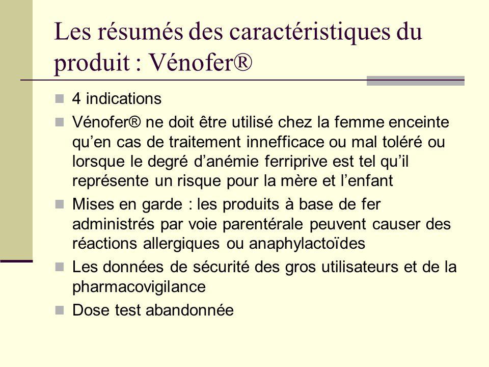 Les résumés des caractéristiques du produit : Vénofer®