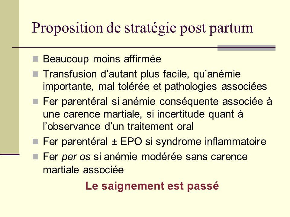 Proposition de stratégie post partum