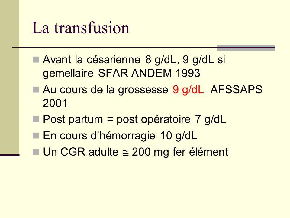 La transfusion Avant la césarienne 8 g/dL, 9 g/dL si gemellaire SFAR ANDEM 1993. Au cours de la grossesse 9 g/dL AFSSAPS 2001.