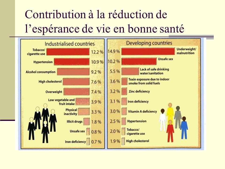 Contribution à la réduction de l'espérance de vie en bonne santé