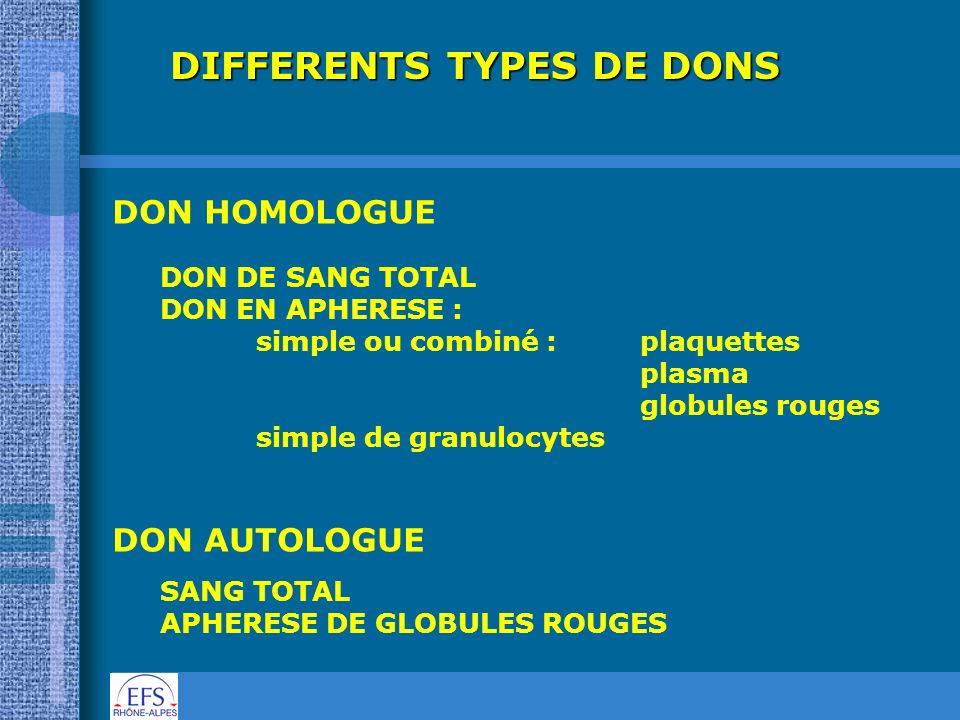 DIFFERENTS TYPES DE DONS