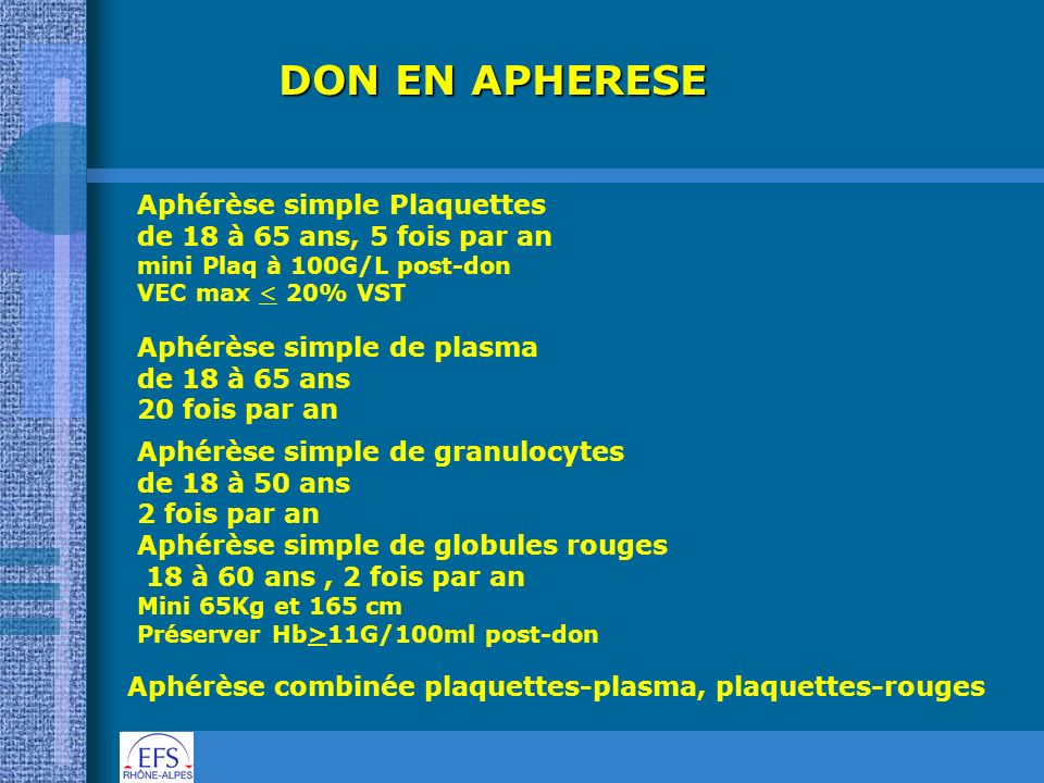 DON EN APHERESE Aphérèse simple Plaquettes